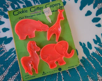 Set of Four Vintage 1960s Animal Shaped Cookie Cutters in Original Packaging