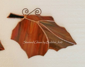 One of a Kind Reversible Autumn Falling Leaf Stained Glass Suncatcher E