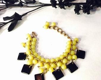 CIJ Christmas July SALE Circa 1940s Art Deco Retro 1940s Yellow Black Geometric Cha Cha Bib Bracelet Art Deco Jewelry