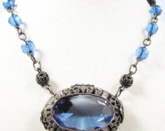 CIJ Christmas July SALE Beautiful Art Nouveau Art Deco Open Back Blue Crystal Silver Filigree Vintage Antique Necklace