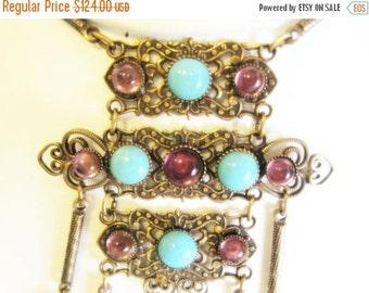 CIJ Christmas July SALE Beautiful Art Deco AMETHYST Turquoise Art Glass Brass Filigree Vintage Necklace