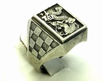 Old High Relief Detail Chines Silver Vintage Dragon Signet Ring