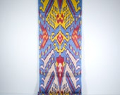 blue red yellow cream ikat fabric by the yards, blue ikat, blue red yellow, table runner, upholstery fabric, blue red, fabric by the yard