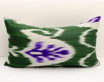 20x12 green violet ikat pillow cover, cushion case, ikat, green ikat pillow cover, decorative pillows, throw pillows uzbek ikats pillowcases