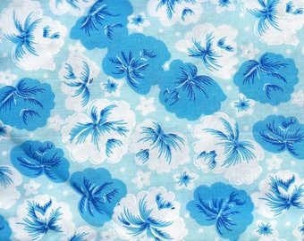 Blue Flowers on White Background Fabric, 100% Cotton, 1 yard x 42""