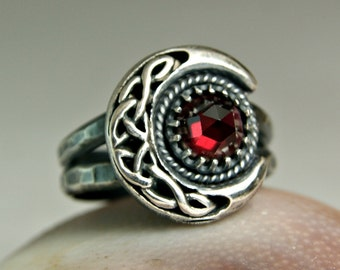Garnet Moonbeam Ring, Bohemian Jewelry, Crescent Moon Jewelry, Sterling Silver Ring