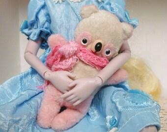 Handmade Pink and White Miniature Blythe Companion Teddy Bear Retro Style