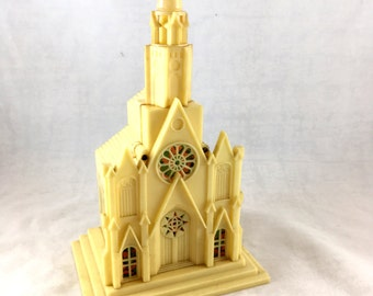 1950s Plastic Light Up Church. Wind Up Music Box. Silent Night. Working Light. Retro Christmas Decor. Cathedral Christmas Village Display