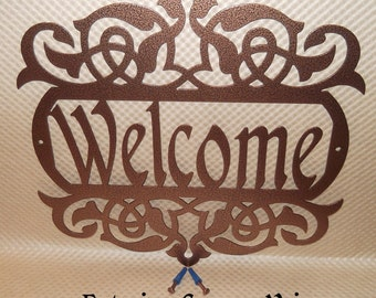 Welcome Sign, Scroll, Wall art, outdoor sign, housewarming gift, Wall decor, Front door, House sign, Metal Art, Exterior Copper Vein