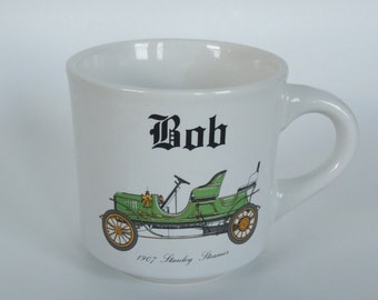 1 Vintage Antique Car Mug - 1907 Stanley Steamer - Personalized Bob Birthday Gift, Papel Ceramic Coffee Cup, Guy Gift, Joke Gift for Him
