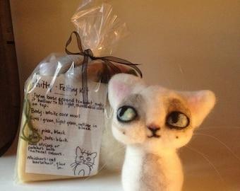 LED Kitty Tealight Felting Kit. Needle Felt Cat. Beginner Felting. Felting Supplies. Green Eyes. Cat Art Sculpture. Fibre Art.