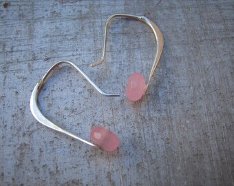 Pink Chalcedony Simple Forged Earring