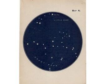 1910 mini constellation figures original antique celestial astronomy print -  map 4
