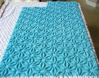 Bahama Blue Hofmann Daisy Vintage Chenille Bedspread Fabric