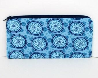 Pencil Case Zipper Pouch, Azuli Blue Folk Turtles, Zippered Bag