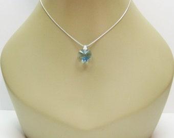 Aquamarine Swarovski Crystal Heart Pendant Necklace -Pendant On A Chain - Petite Necklace - Girls Jewelry - Womens Jewelry - Crystal Jewelry