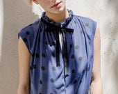 Winter Sale 15% Off!!! under 50, blue polka dots shirt with black velvet tying and pleats