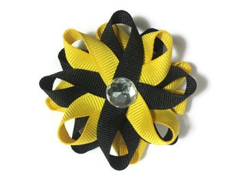 Black & Yellow Hair Bows, Handmade Hair Bows, Loopy Hair Bows, No Slip Hair Bows, Girls Hair Bows, Girls Accessories, Gifts for Her