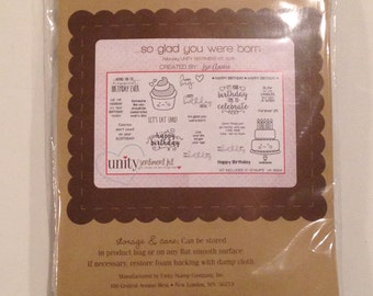 NEW UNITY Stamp Co. Set, so glad you were born, CLEARANCE Price