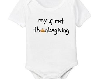 My First Thanksgiving Organic Cotton Baby Bodysuit
