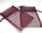 10 Burgundy 4x6 Organza bags, Organza Pouch, Jewelry Bag, Drawstring Bag, Gift Bag, Craft Bag, Party Favor Bag, Wedding Favor, Destash Craft