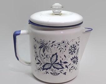 Vintage Coffee Pot, Blue Onion Enamel, Farmhouse Kitchen, Coffee Percolator, Enamelware Pot, Rustic Coffee Pot Decor, Blue White Enamel