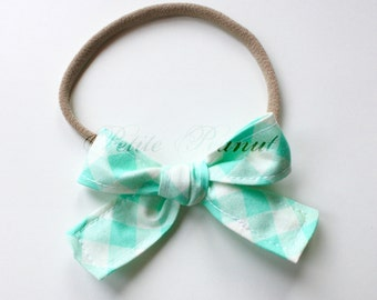 Petite Peanut Bitty Bow Headband - Mint Checker - Baby Girl Toddler - (Made to Order) -Spring Summer