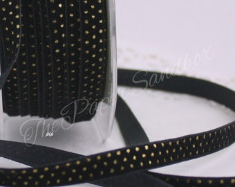 """Black & Gold Polka Dot Velvet Ribbon, 3/8"""" wide by the yard, Weddings, Gift Wrapping, Sewing, Black Velvet Trim, Velvet Chokers"""