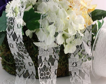 """White Floral Lace Ribbon, 1.5"""" wide by the yard, DIY Weddings, Crafts, Gift Wrapping, Bridal Lace, Lace Trim, Bouquets, Party Supplies"""