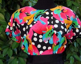 Vintage 80's Abstract Painterly Rickie Freeman 100% Silk Dress