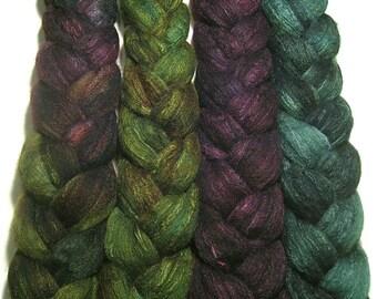 Wonder Bundle Polwarth & tussah silk roving 9.6 oz Anticipating Autumn - hand dyed spinning felting fiber bundle - autumn wool top set
