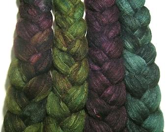 Wonder Bundle Polwarth & tussah silk roving 9.6 oz Anticipating Autumn - hand dyed spinning felting fiber bundle - autumn top