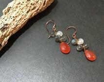 Blue Labradorite Earrings, Gemstone Earrings, Berry on Vine Earrings Rustic Earrings Carnelian Bohemian earrings Sundance Style Jewelry
