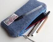 Blue herringbone Harris Tweed pencil case , handwoven and handmade in Scotland