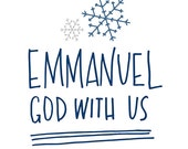 Christmas Printable, Emmanuel God with Us, Christmas Carol Print, Holiday Print, Emmanuel Printable, Blue Christmas Print, INSTANT DOWNLOAD