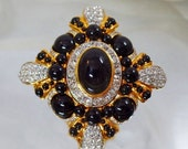 FALL SALE Vintage Huge Joan Rivers Cross Brooch. Black and Gold Maltese Cross Rhinestone Cluster Pin.