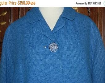 ON SALE Vintage 1960s Blue Wool Boucle Swing Coat