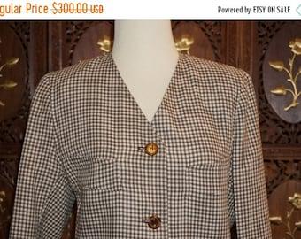 ON SALE 1990s Oscar De La Renta Brown/Cream Check Wool Skirt Suit Sz 12
