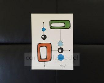 atomic art | mid century modern art | drawing | illustration | MCM art | Danish | Scandinavian | 1950s | modern art | abstract | circles