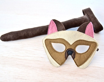 Cat Mask and Tail, Kids Siamese Halloween Cat Costume Eco Friendly Mardi Grass Dress up and Pretend Play Toy for Girls Boys and Toddlers