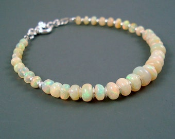 Opal Bracelet, Large Pastel Color White Opal, Extreme Color Ethiopian Fire Opals and Sterling Silver Bracelet, OOAK Opal Jewelry