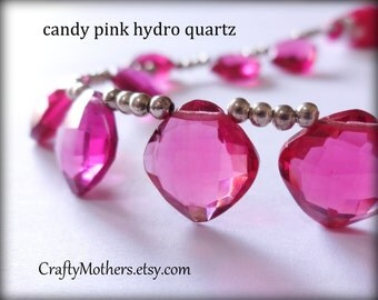 Clearance! CANDY PINK Hydro Quartz Faceted Cushion Briolettes Trio, (1) Matched Pair plus (1) Focal, 12mm