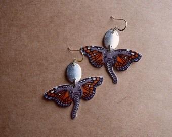 Elephant earrings No. 2, butterfly elephant earrings, butterphant, animal jewelry, elephant jewelry