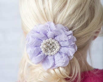 Lavender hair clip, pearl hair clip, lace hair clip, lace hair bow, bridal hair accessories, flower girl gift, bridesmaid hair clip lace bow