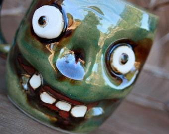 Zombie Monster Mug. Walking Dead Green Zombie Coffee Cup. Halloween Beer Stein. Large Ceramic Mug Spooky Face Handmade Pottery Ug Chug.