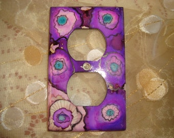 LIGHT SWITCH PLATE Cover - Whimsical Flowers Hand Painted Electrical Outlet Cover