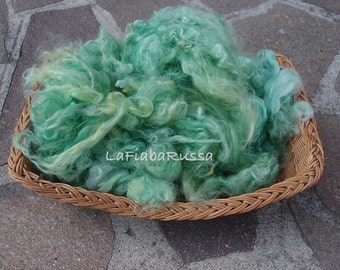 emerald green Huacaya Alpaca Fleece, 2.6 oz Hand Dyed for Spinning and Felting, fluffy wool poser basket filler photography prop