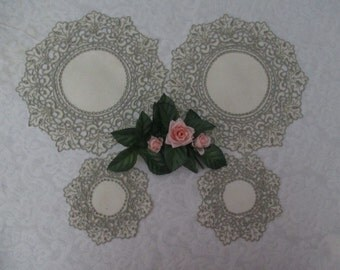 4 Beautiful Vintage Hand Embellished Madeira Doilies