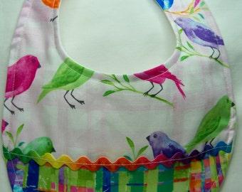 The Simple Bib - Watercolor Birds - Baby Bib - Drool Bib - Ready To Ship