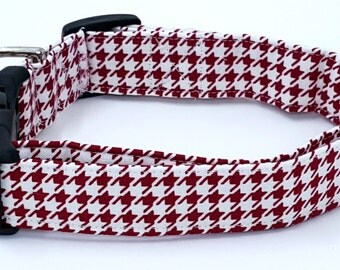 Roll Tide Crimson Red and White Houndstooth Sports College Dog Collar